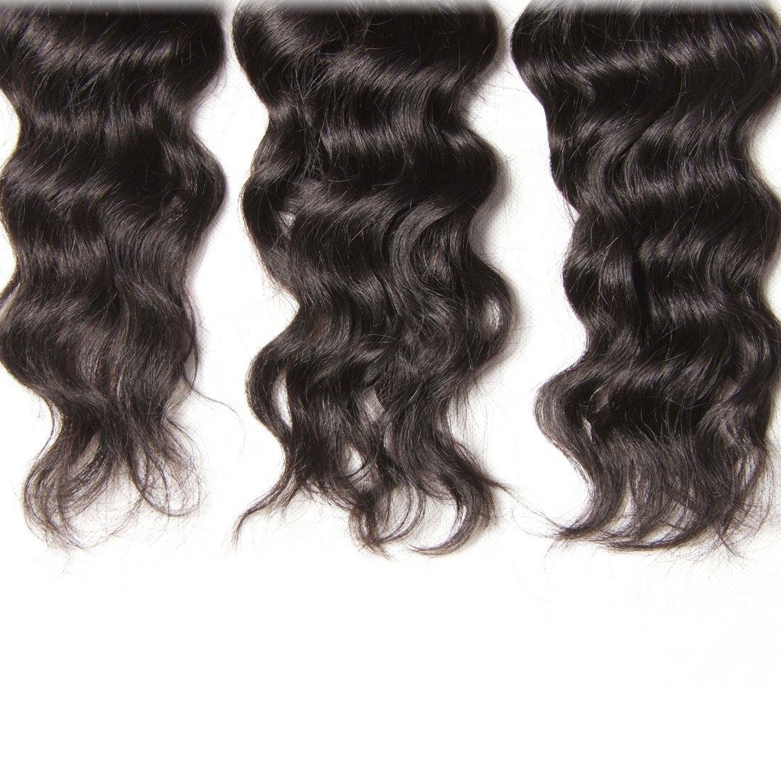 Unice 7A Grade Brazilian Natural Wave Hair 100% Virgin Human Hair 3 Bundles with Closure Natural Color (20 22 24+18Free Closure) by UNICE (Image #6)