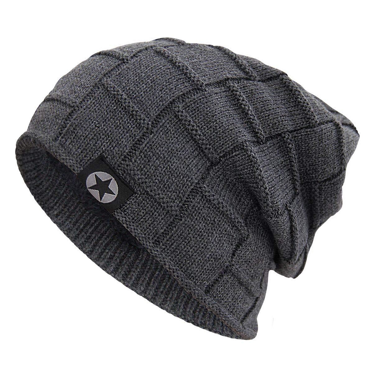 6460b93a6 Bodvera Winter Knit Warm Hat Thick Soft Fleeced Slouchy Beanie Ski ...