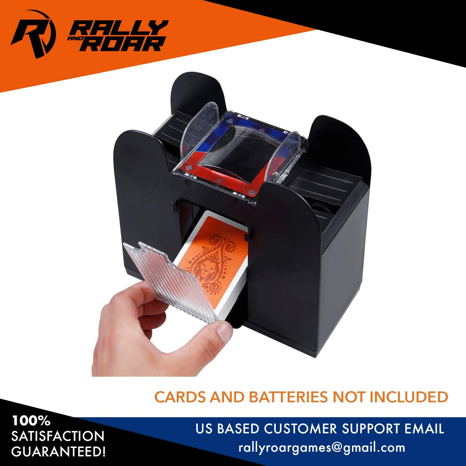 Holds up to 6 Decks Battery Operated Professional Cards Shuffling Machine Portable Casino Card Shuffler Shuffles Quickly Premium Automatic Card Shuffler by Rally and Roar Fits Standard Size