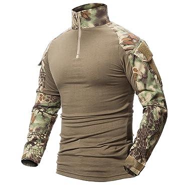 new products 44f63 bb843 ShallGood Herren Outdoor Military Schlank Passen Taktisch T-Shirt Militär  Tarnung Jacke Kampf Lange Hülse Camouflag T-Shirt Für Tactical Airsoft ...