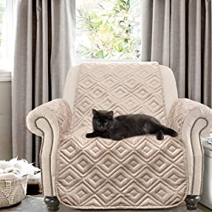 DriftAway Marley 100 Percent Waterproof Furniture Protector Quilted Cover Couch Cushion Slipcover Perfect for Kids Pet Cat Dog Machine Washable Sofa Beige