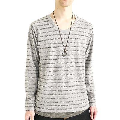 (モノマート) MONO-MART かすれボーダー Uネック カットソー Tシャツ 長袖 ストレッチ カラー ちょいゆる size メンズ
