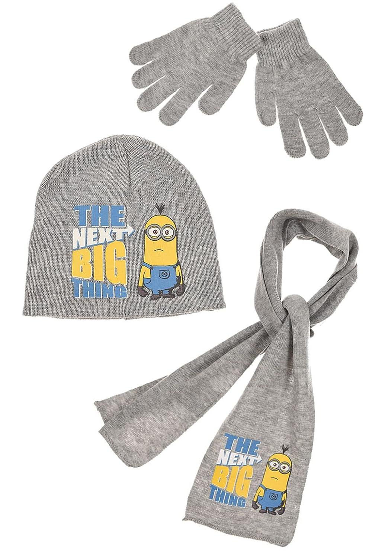 Minions Ich einfach unverbesserlich M/ütze 52 oder 54 Schal und Handschuhe in Blau oder Grau oder Dunkelblau Gr
