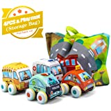 UNIH Pull-Back Vehicle Soft Baby Toys Tollders Plush Car Toy Set 4 Cars with Play Mat (Storage Bag), 1 Year Old Toys