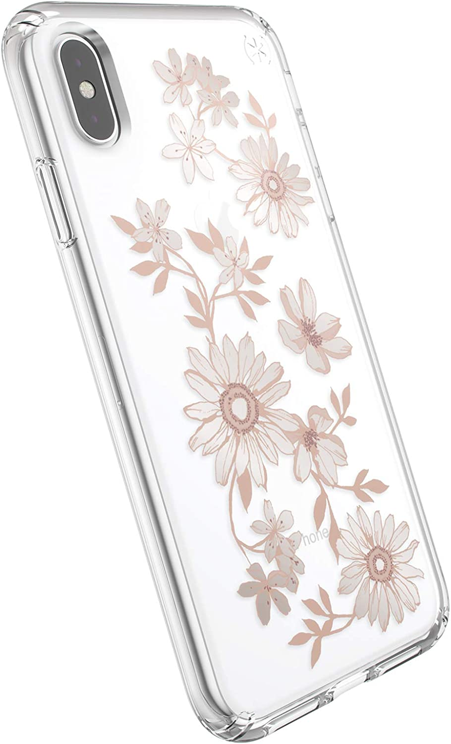 Speck Products Presidio Clear + Print iPhone Xs Max Case, FairytaleFloral Peach Gold/Clear