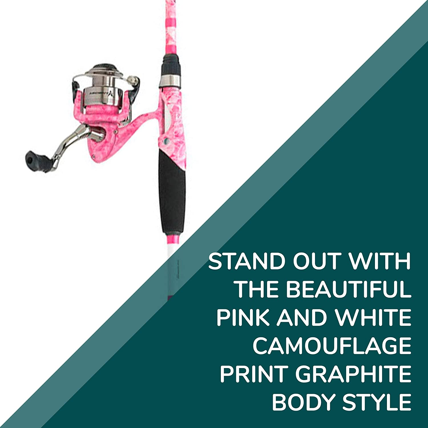 Pink Fishing Rod and Reel Ardent Lady Fishouflage Spinning Combo Two Piece Graphite 66 Rod with 5.5:1 Gear Ratio Reel