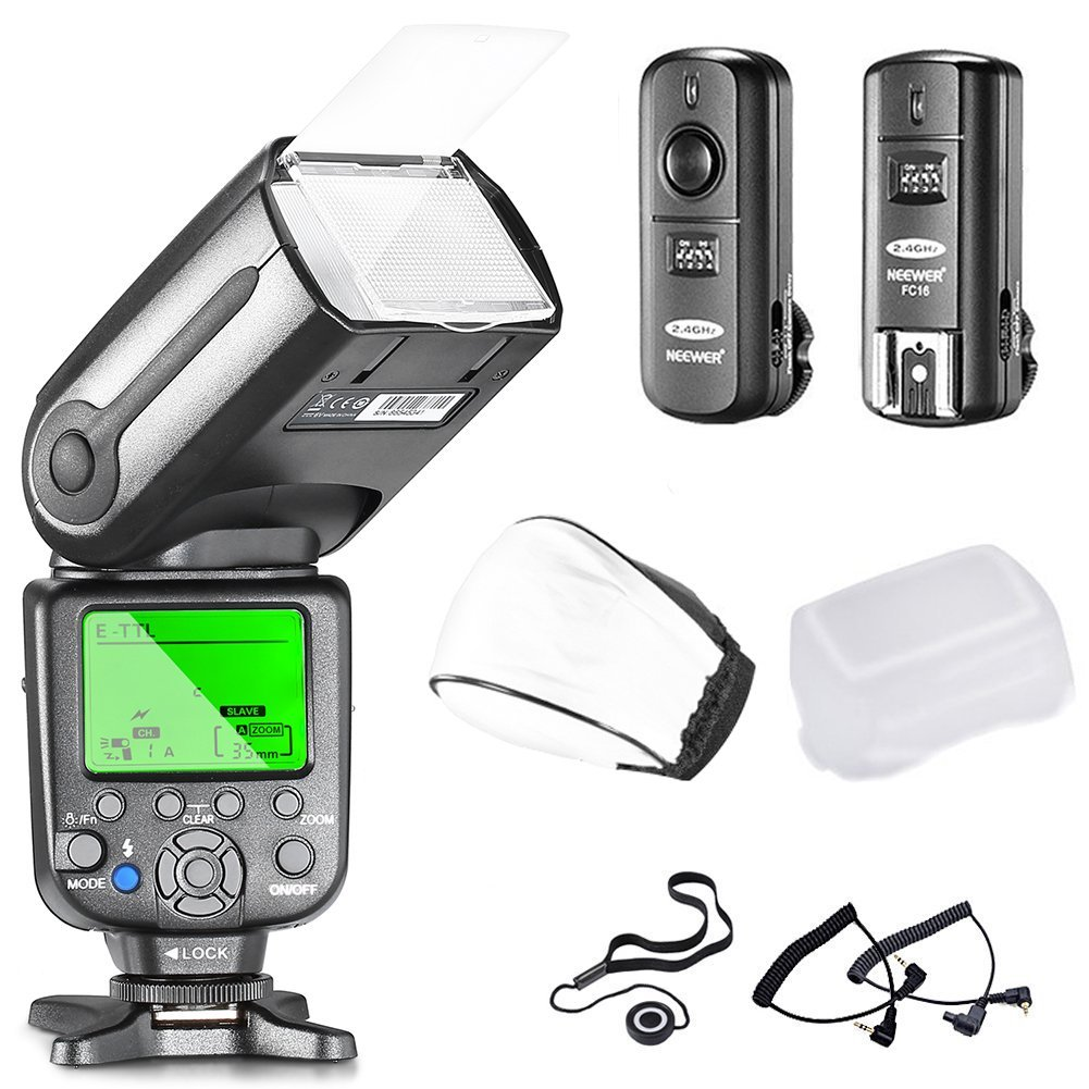 Neewer NW565EX Professional E-TTL Slave Flash Speedlite Kit for Canon DSLR Cameras- Includes: Neewer Auto-Focus Flash+2.4G Wireless Trigger+C1/C3 Cables+Hard & Soft Diffuser+Lens Cap Holder by Neewer
