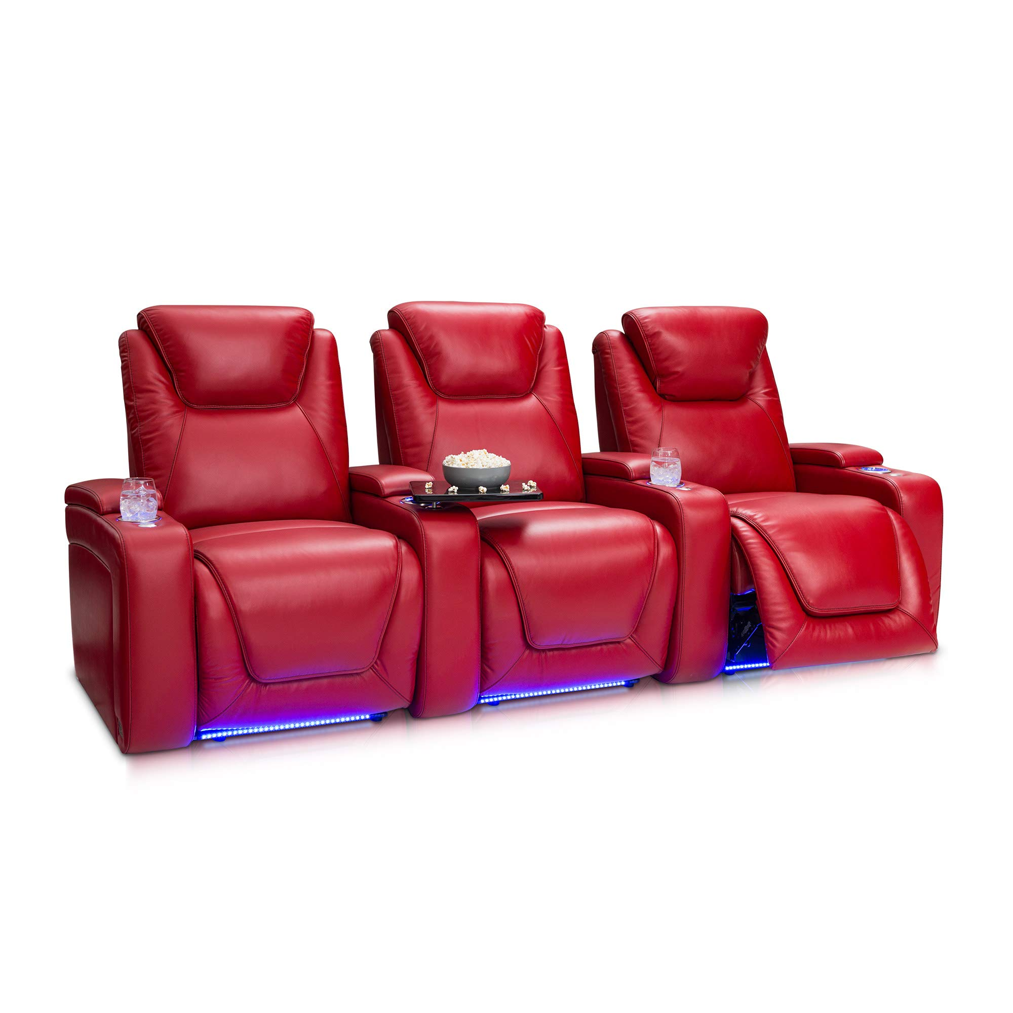 Seatcraft Equinox Home Theater Seating Power Recline Leather (Row of 3, Red) by Seatcraft