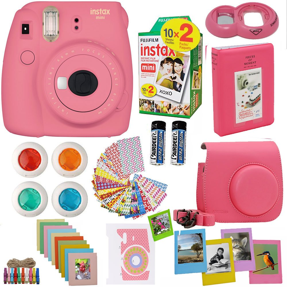 Fujifilm Instax Mini 9 Instant Camera Flamingo Pink + Fuji Instax Film Twin Pack (20PK) + Camera Case + Frames + Photo Album + 4 Color Filters And More Top Accessories Bundle by Abesons