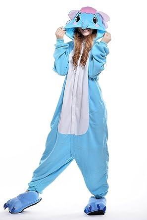 Sunrise Unisex Adult Blue Elephant Anime Pyjamas Kigurumi Onesie Halloween Costume (S)