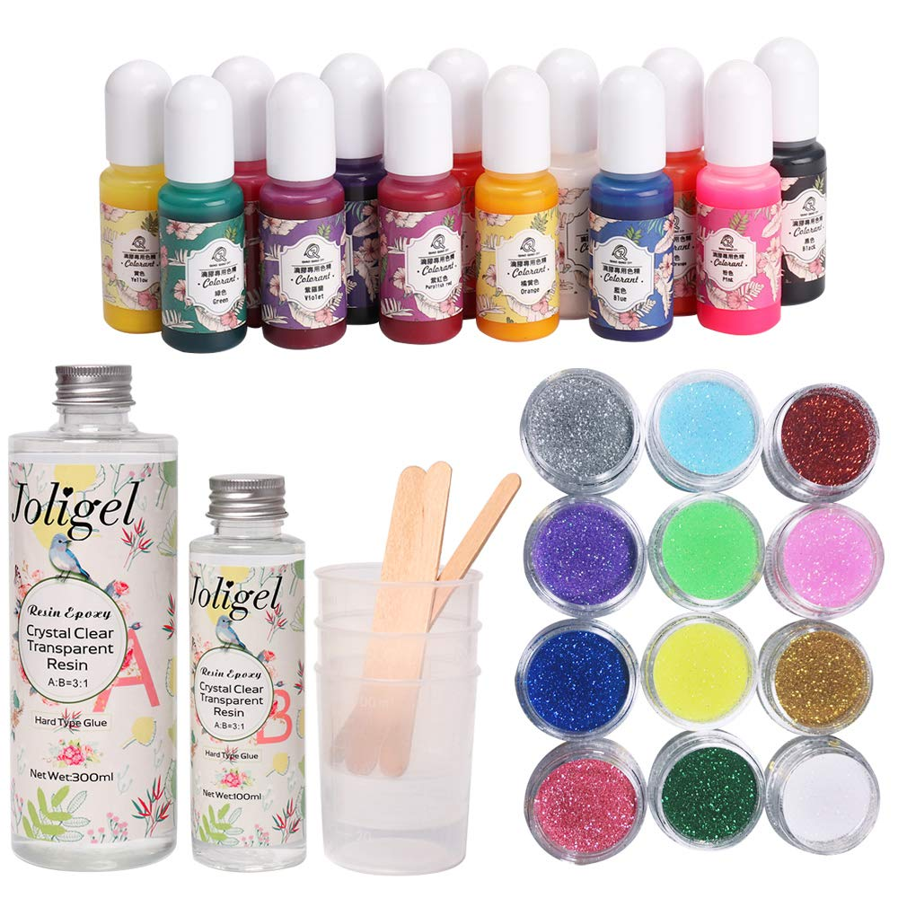 Joligel 400Ml Two Part Epoxy Resin AB Epoxy Resin Kit Crystal Clear Transparent Hard Type Glue 3:1 With 3 Measuring Mxing Cups & 3 Stir Bars for Casting & Coating