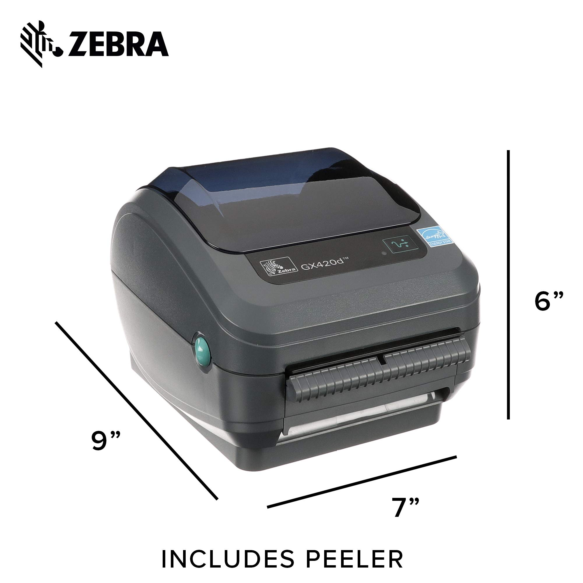 Zebra - GX420d Direct Thermal Desktop Printer for Labels, Receipts, Barcodes, Tags, and Wrist Bands - Print Width of 4 in - USB, Serial, and Ethernet Port Connectivity (Includes Peeler) by ZEBRA (Image #6)