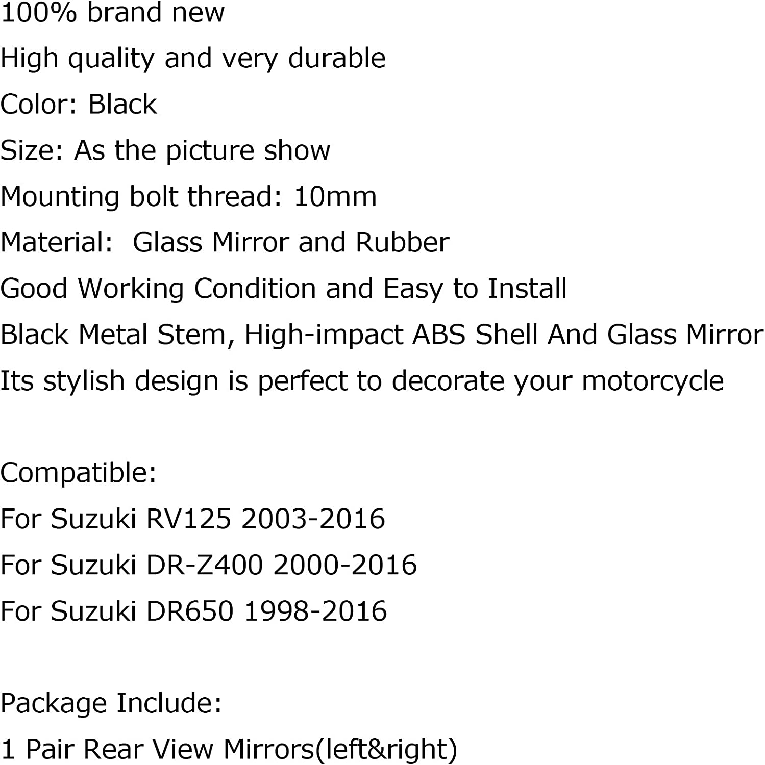 Areyourshop Motorcycle Rearview Mirrors For RV125 03-16 DR-Z400 2000-2016 DR650 98-16