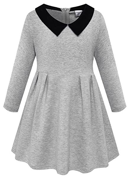 4be641338e6 LYNLLA Girls Peter Pan Collar Long Sleeve Cotton Princess Pleated Gray  Dresses Size 5