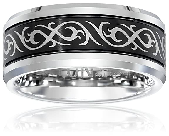 Triton Men S Black And White Tungsten 9mm Tribal Inspired Wedding Band Amazon Com
