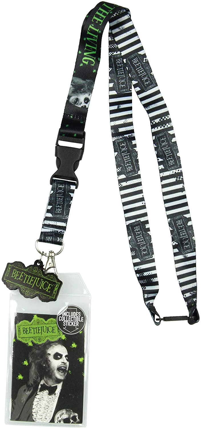 Beetlejuice Never Trust The Living Lanyard ID Holder with Rubber Charm and Collectible Sticker