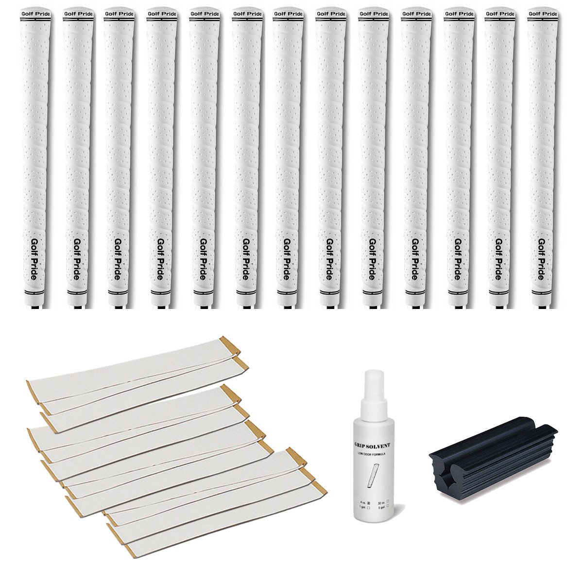 Golf Pride Tour Wrap 2G White - 13 pc Golf Grip Kit (with Tape, Solvent, Vise clamp)