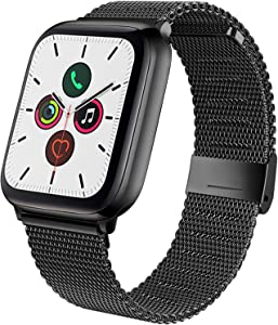 YILED Compatible with Apple Watch Band 44mm 42mm 40mm 38mm, Adjustable Stainless Steel Mesh Replacement Wristband Sport Loop Band for iWatch Series 5 4 3 2 1 (Black, 42mm/44mm)