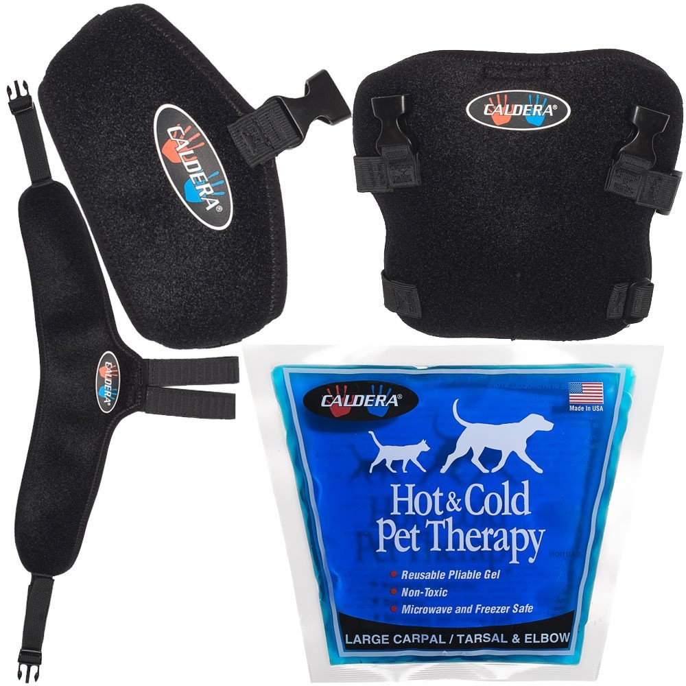 Caldera Pet Therapy Elbow Wrap with Gel, Large, Black