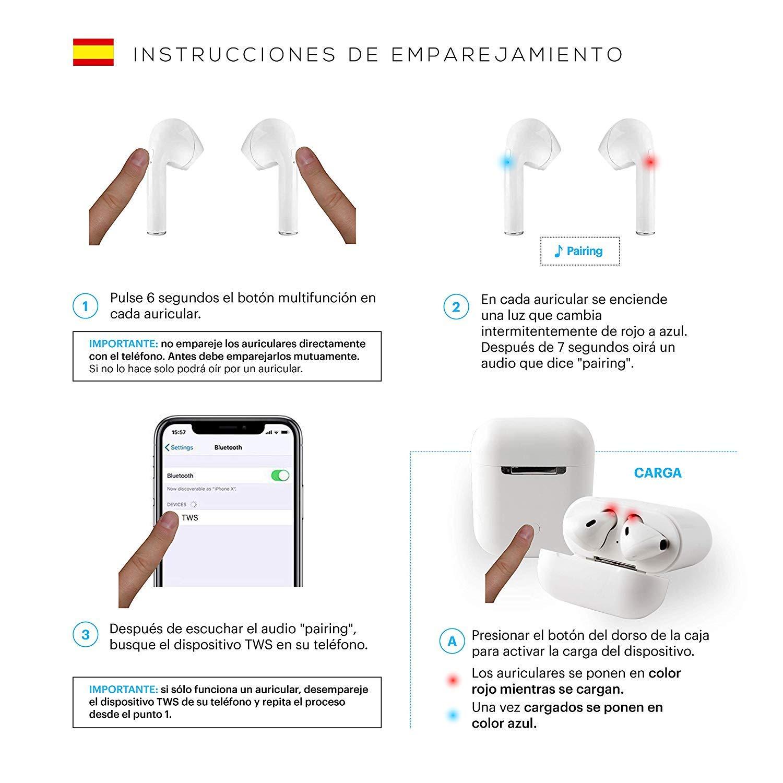 Auriculares Bluetooth inalámbricos i9 | Cascos de máxima Potencia y Calidad de Sonido | BATERIA 3H | Carga portatil | Compatible con Todos LOS Dispositivos: ...