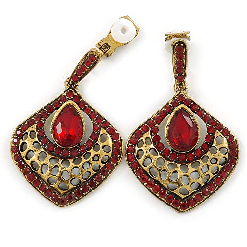 Vintage Inspired Ruby Red Glass Crystal Bead Teardrop Earrings In Antique Gold Tone - 50mm L Wn2KB