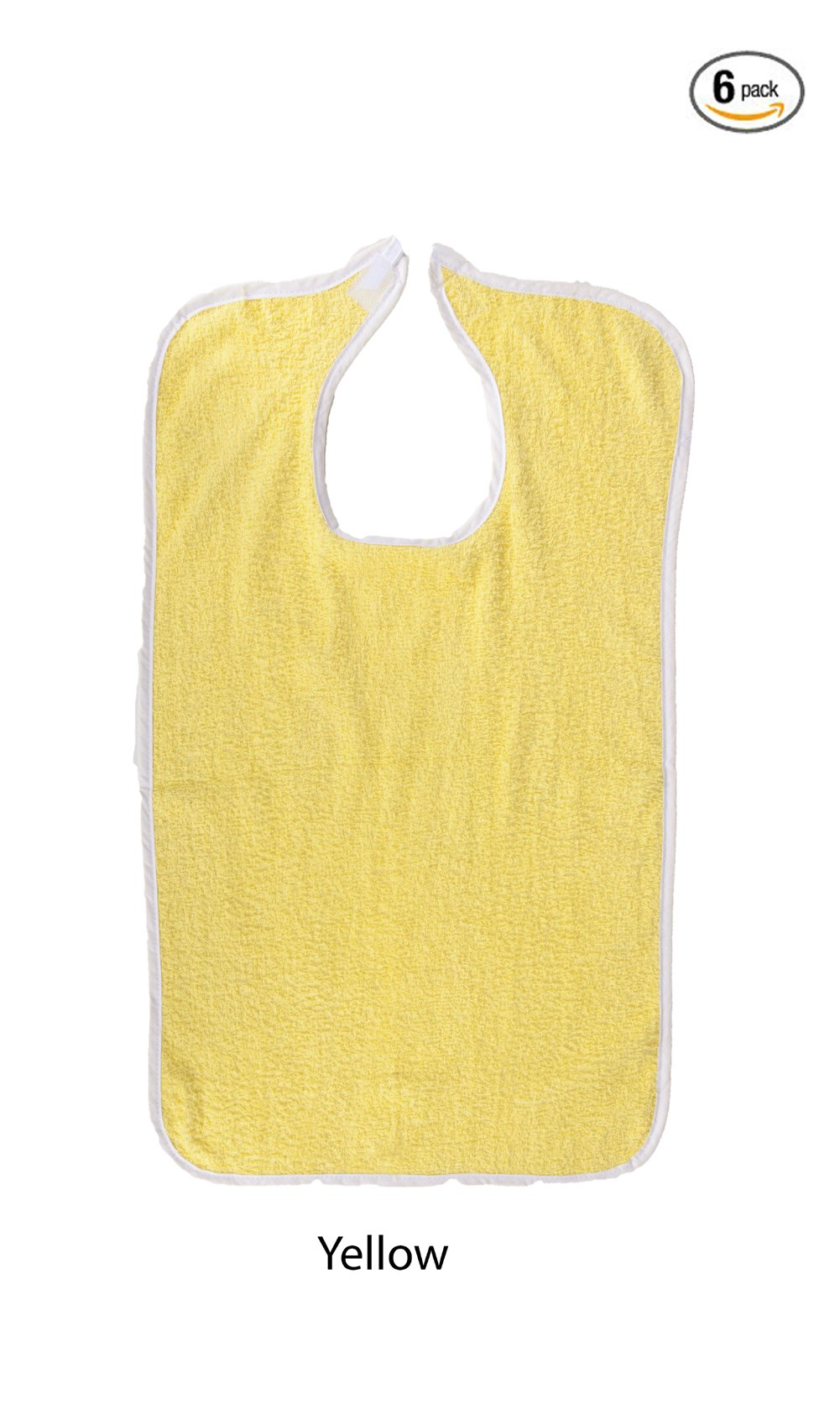 Adult Terry Cloth Bib With Velcro Closure Size 18 X 30 - 6 Pack (Yellow)