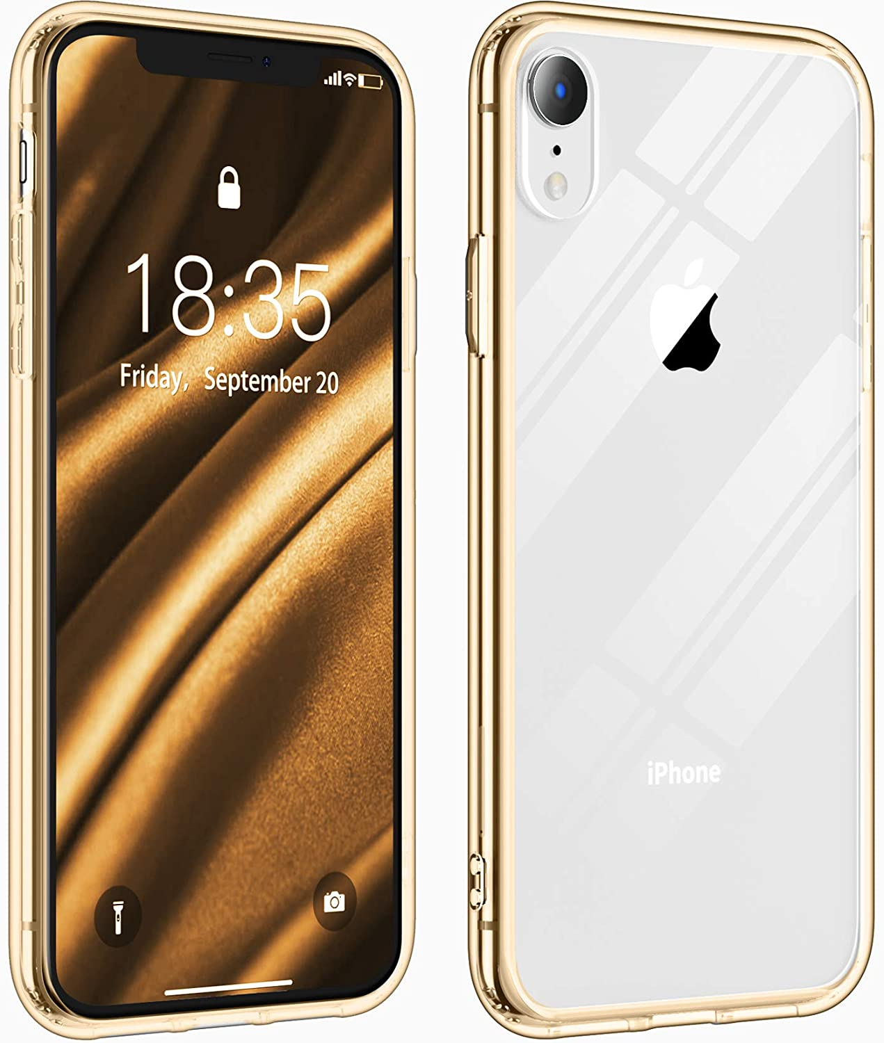Justcool Compatible with iPhone Xr Case, Crystal Clear Anti-Scratch Shock Absorption Cases TPU Bumper Hard PC Back Cover for iPhone XR 6.1 inch (Gold)