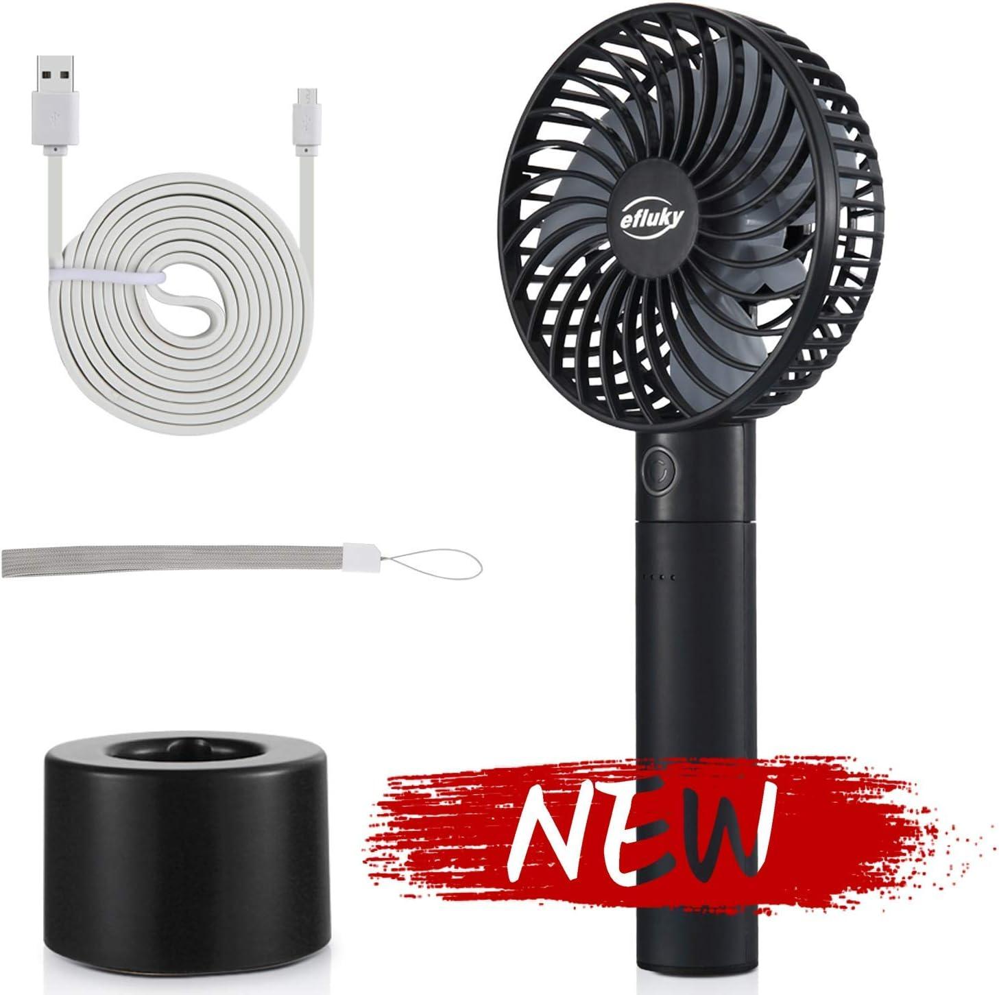 efluky Ventilador Portatil, Mini Ventilador USB, Ventilador Recargable con Banco de Potencia Extraíble 2600mAh, 5 Velocidades Ajustables, 3-9 Horas de Tiempo de Trabajo(Negro)