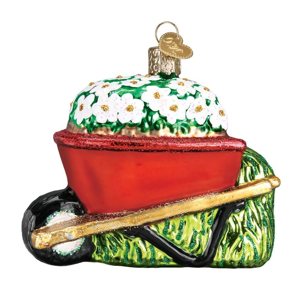 Old World Christmas Wheelbarrow Garden Gifts Glass Blown Ornaments for Christmas Tree