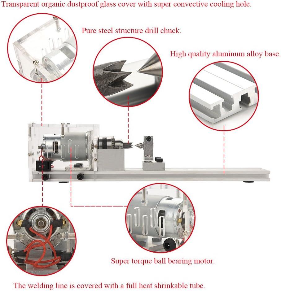 Standard + Polishing Function GB 110-240V Miniature lathe,Transparent Beading Machine,Mini DIY Woodworking Lathe Miniature Buddha Pearl Lathe for Grinding and Polishing of Wood,Stone,Handicrafts,etc