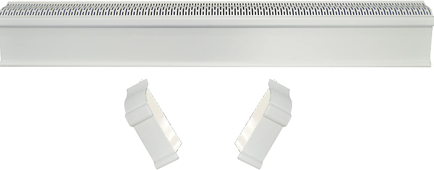Baseboard Heat Covers, Baseboard Heater Cover WITH End Caps (Left and Right) | Hot Water Heating Cover Enclosure, Direct Replacement Kit for Slant Fin - Rust Proof/Energy Efficient - 2' White