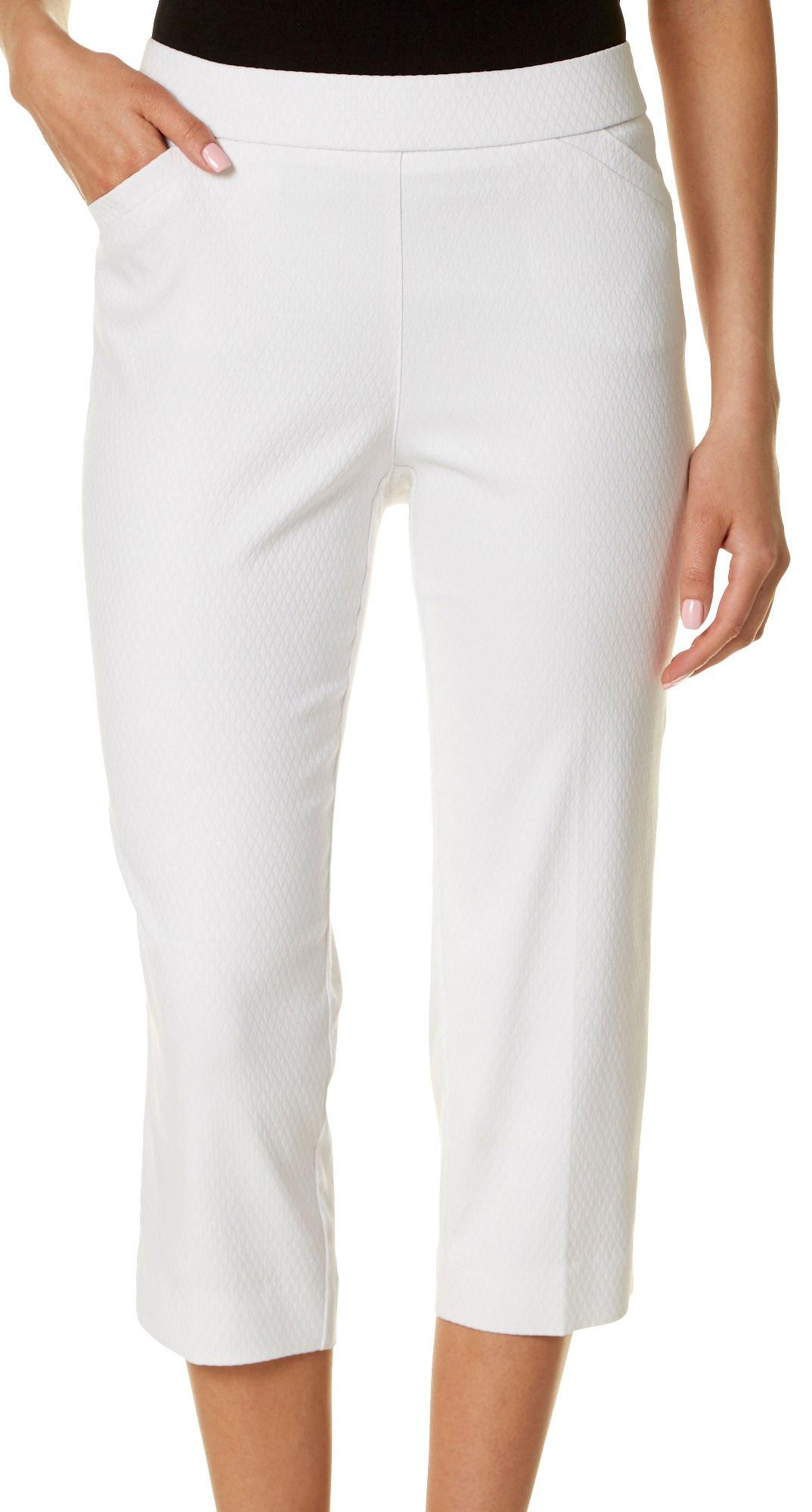 Counterparts Petite Diamond Textured Pull-On Capris 8P White