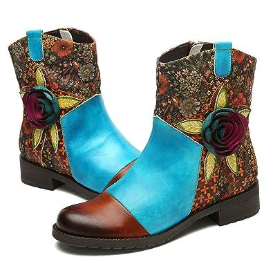 632c7b645347cb Gracosy Bottes Cuir Femmes, Chaussures de Ville Hiver Automne à Talons  Plats Moyens Boots à