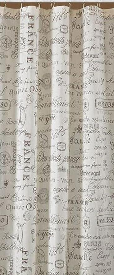 Park Designs Rue Du Marche Paris French Words Antique Sheer Fabric Shower Curtain 72 X