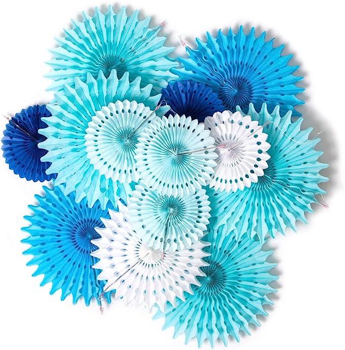 Bleu SUNBEAUTY Baby Shower Garcon Decoration Kit Bapteme Mariage Anniversaire Chambre Boy Papier Deco Bleu