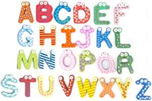 PENTA ANGEL 26Pcs Wooden Magnets Fridge Letters Wood Large Magnetic Refrigerator ABC Alphabet Cute Spelling Learning Game Toys for Kids Baby Girls Boys Toddler Preschool Educational (Letter)