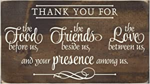 Christian Plaque Rustic Wood Sign Wall Decor - Thank You for The Food Before Us The Friends Beside Us The Love Between US - 12 x 22 Inch Wall Art Decor