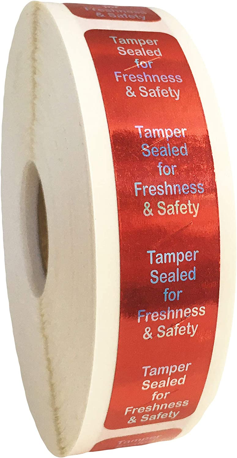 InStockLabels 500 Metallic Red Tamper-Evident Food Seal Stickers, Labels for Food Containers (0.75 Inches x 3.5 Inches)