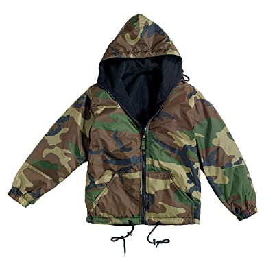 6cabfba9ebf8e Image Unavailable. Image not available for. Color: Reversible Nylon Jacket  with Hood, Woodland Camo ...