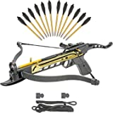 KingsArchery Crossbow Self-Cocking 80 LBS with Adjustable Sights, Spare Crossbow String and Caps, and a Total of 15…