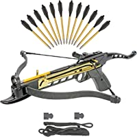 KingsArchery Crossbow Self-Cocking 80 LBS with Adjustable Sights, Spare Crossbow String and Caps, and a Total of 15 Aluminim Arrow Bolt Set