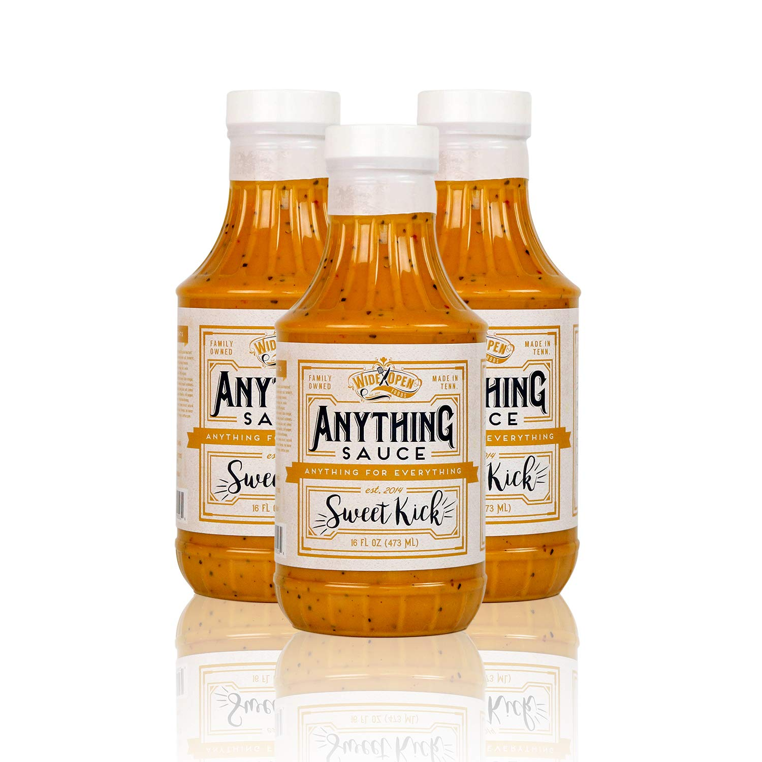 Wide Open Foods Anything Sauce - All Natural Flavorful Cooking For Home & Kitchen Use (Sweet Kick, 3 Pack)