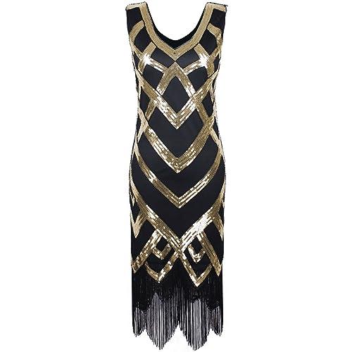 PrettyGuide Women 1920s Vintage Beads Sequin Crisscross Fringe Hem Flapper Dress