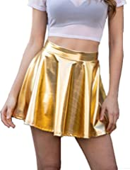 Avidlove Women's Shiny Metallic Skirt Holo High Waisted Flare Skater Skirt