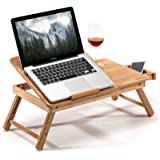 HANKEY Bamboo Bed Table Serving Tray for Eating Breakfast, Reading Book, Watching Movie on iPad | Large Foldable Laptop…