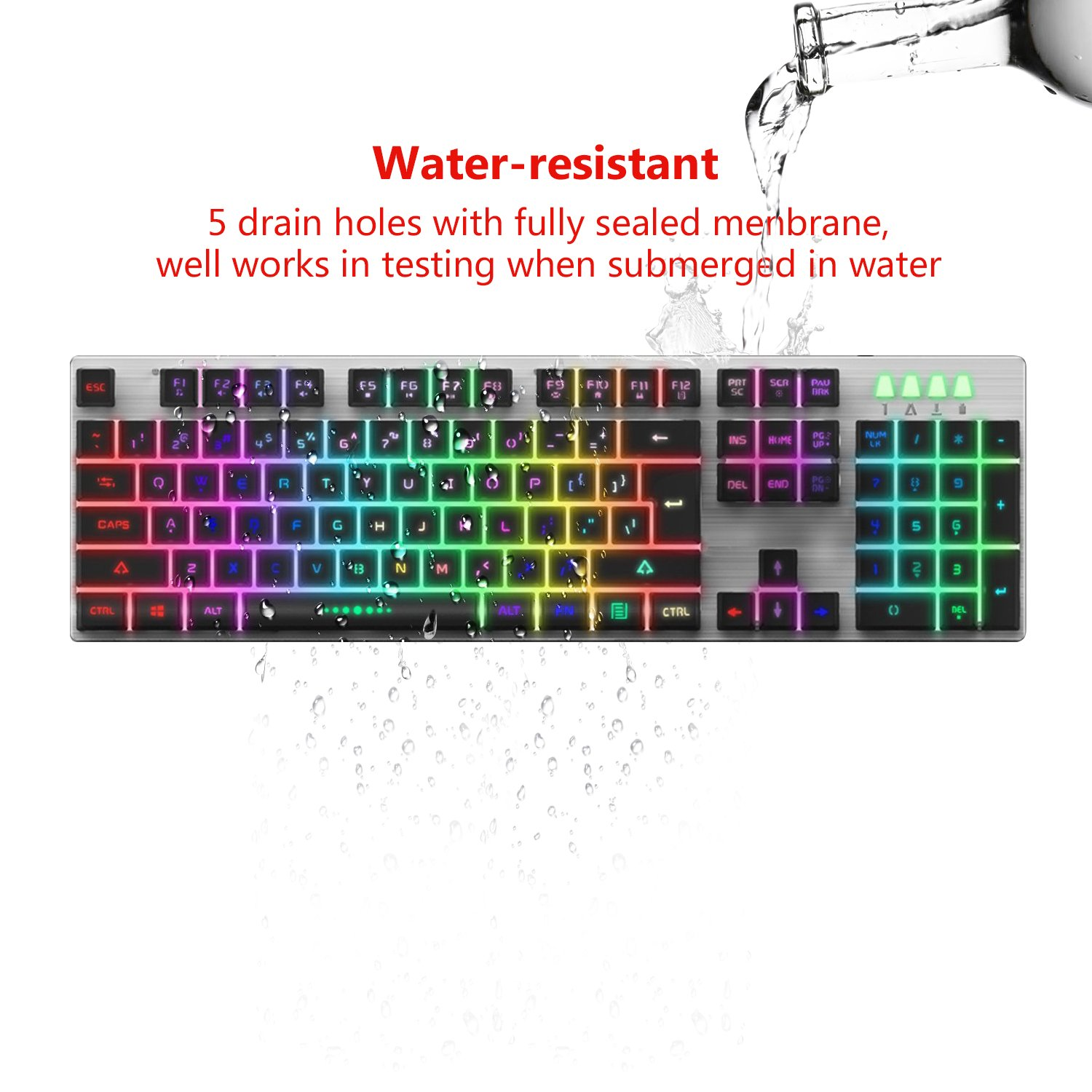Backlit LED Wired Gaming Keyboard, Mechanical Feeling USB Keyboard with Backlight Rainbow RGB Multicolor Water-Resistant Adjustable Illuminated Computer Keyboard for PC Games Office (K2 Black) by WYJP (Image #4)
