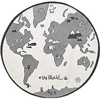 TOYANDONA Nursery Round Area Rug World Map Pattern Baby Kids Play Game Mat Crawling Mat Children Floor Play Mat Toy…