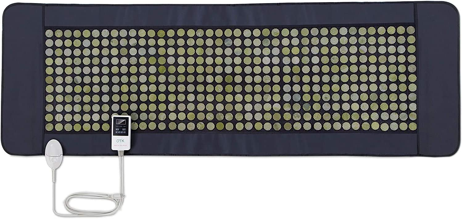 UTK 24''x 70'' Far Infrared Heating Pad for Full Body 429 Individual Nature Jade Stones Heating Therapy for Pain Relief Size Large