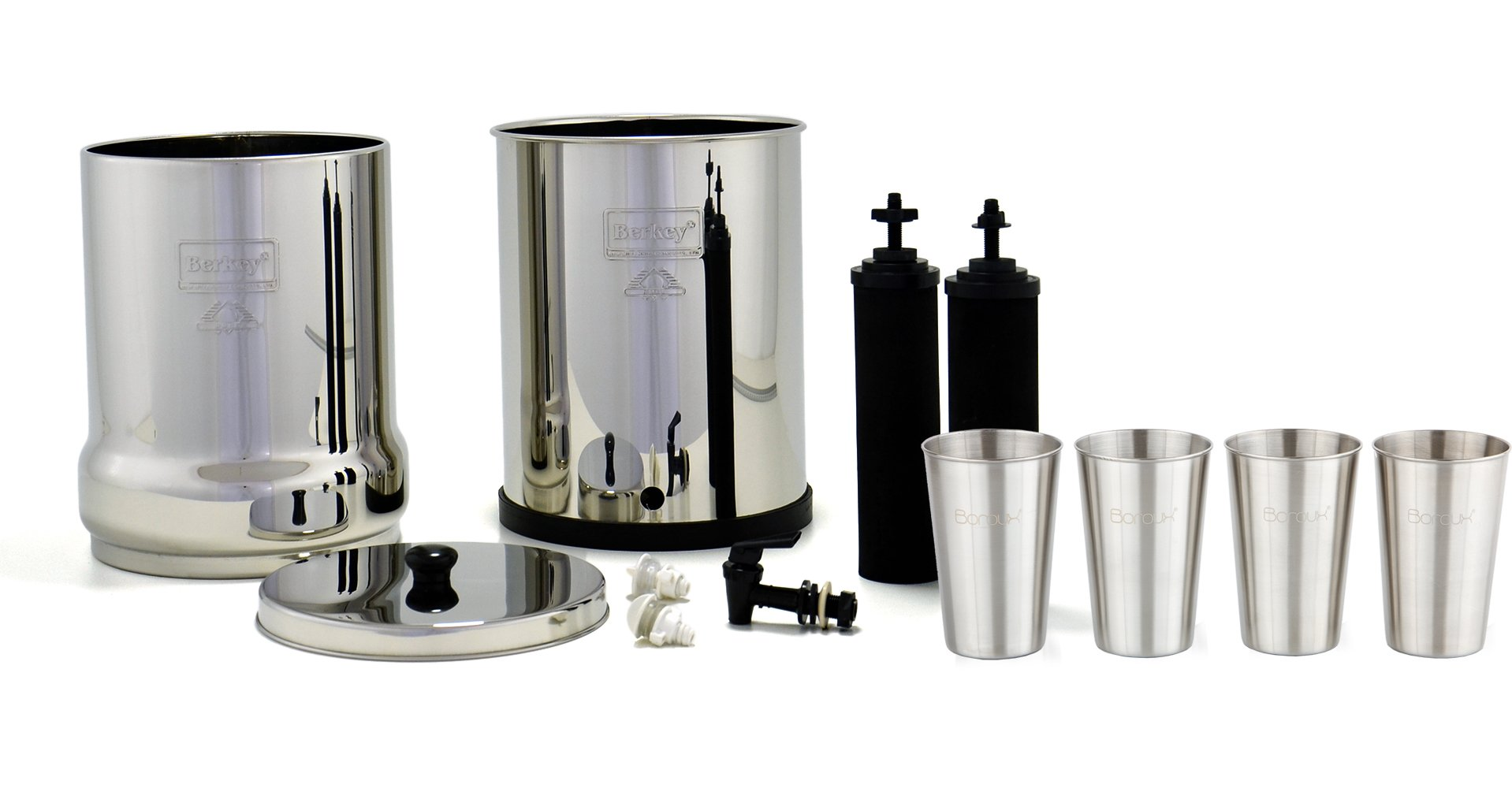 Royal Berkey Water Filter System w/ 2 Black Purifier Filters (3 Gallons) Bundled w/ 1-set of Fluoride Filters (PF2) and 1-set of 4 Boroux 12 oz Stainless Steel Cups for drinking the best tasting water by Berkey (Image #3)