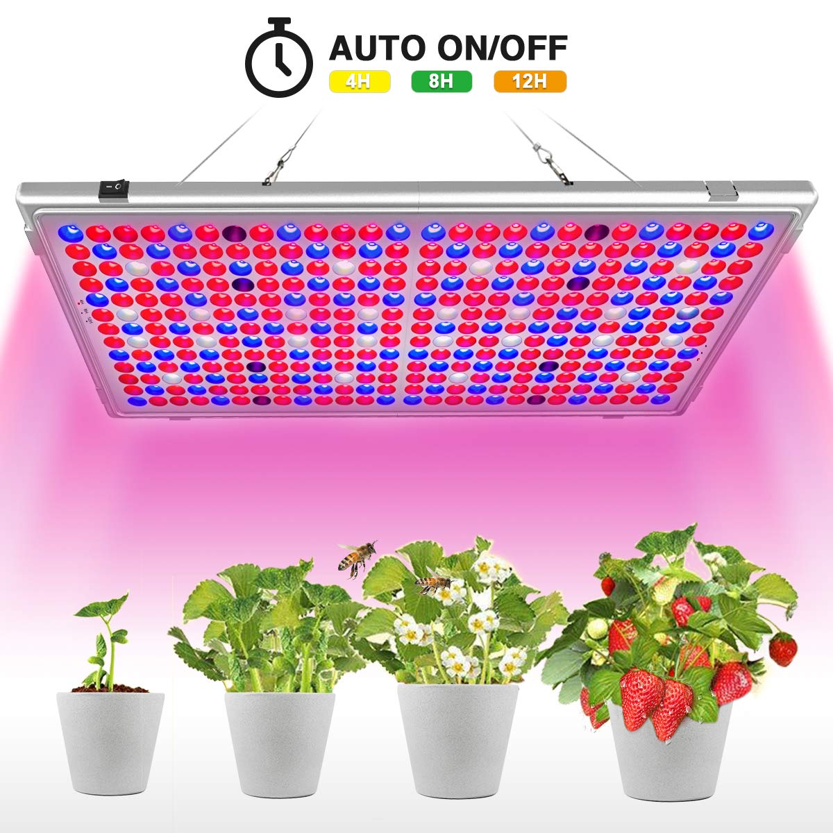 Bozily LED Grow Light, 300W Full Spectrum Grow Lights for Indoor Plants Auto On/Off, 16-Band and 338 Reflector LEDs, Oversized Led Grow Lamp for Greenhouse Tent Veg and Flower